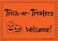 Trick-or-Treaters Welcome ! (orange)